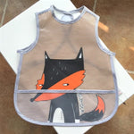 Korean Designed Waterproofed Feeding Bib/Apron - Fox - 0 to 4 yrs