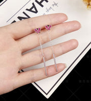 S925 Pinky Heartshape Earrings - Anti allergy - The Bling Magic - K-pop Style - Twice