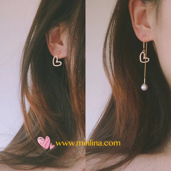 Korea Fashion 14K gold Plated Heart Shape Perl Handmade Earrings