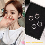 Korea K-pop Style Star Pick High Quality 3A Class Zircon with S925 Silver Hypoallergenic -  Earrings -  Rose Gold/Platinum