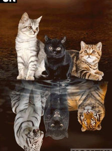 "5D DIY Diamond embroidery Painting Kits -Full Square / Round Drill ""Animal cat reflections""-Scrap n Patch"