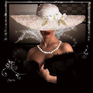 "5D DIY Diamond embroidery Painting Kits -Full Square / Round Drill ""Lady In Black Dress And White Hat"""