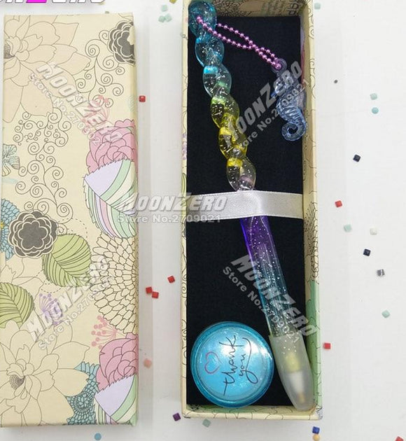 5D Diamond Rainbow Colorful Ocean Pen With Chain- Accessories Wax