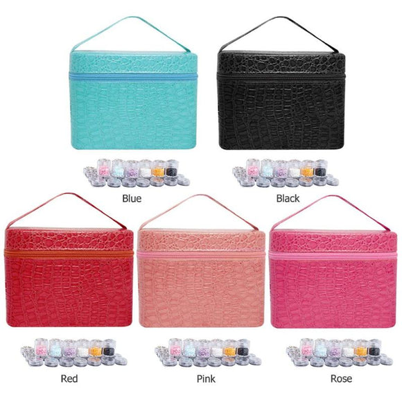 84 Bottles PU Leather 5D Diamond Painting  Rhinestones Tool Storage Bag