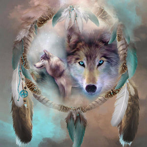 "5D 20x20 DIY Diamond Full square Embroidery ""Wolf Dream catcher"" - Scrap n Patch"