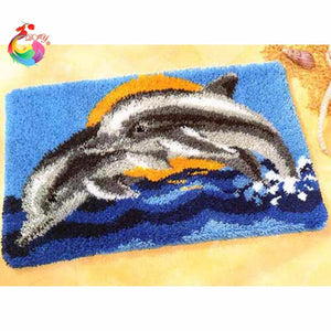 "Latch hook DIY rug kit ""Dolphins"" approx 50x35cm"
