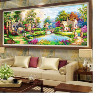 "5D DIY Diamond embroidery Painting Kits -Full Square / Round Drill ""Landscape Cottage"""