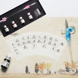 Elegant Glass Calligraphy Pen Dip Ink Set