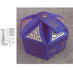 Hexagon Petal Box Metal Cutting Die Stencil For Diy Paper Crafts