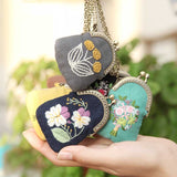 DIY Flower Mini Embroidery Bag/ Purse Kit  with chain Unfinished