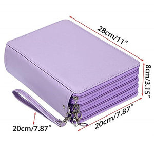 200 Holes Pencil Case PU Leather Bag Large- 4 Layers