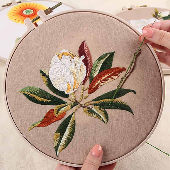 DIY Embroidery kits with Hoop - Flower Sets