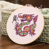 DIY Chinese Zodiac Embroidery Kit for Beginner Needlework Set with Embroidery Hoop