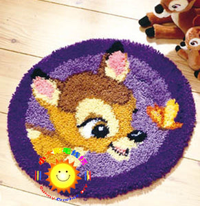 "Latch hook DIY rug kit ""Bambi"" approx 50x50cm round"