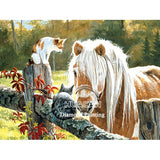 "5D DIY Diamond painting full  square drill ""horses and foals"""