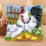 "Patchwork Latch pilowcase kits Needlework thread embroidery  ""Animal patterns"" 43x43cm"