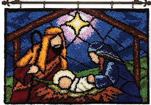 "Latch hook DIY rug kit ""Nativity"" approx 50x35cm"