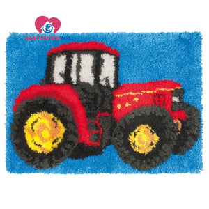 "Latch hook DIY rug kit ""Red Tractor"" approx 50x35cm"