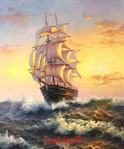 "Needlework Embroidery DIY Cross Stitch Kit ""Ship at sea"" 14CT Unprinted"