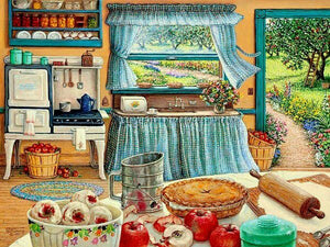 "Needlework Embroidery DIY Cross Stitch Kit ""Kitchen scene"" 14CT Unprinted"