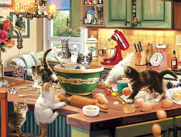 Cat kitchen Cute Animals Art Handmade Needlework Embroidery DIY Cross Stitch Kits Crafts 14CT Unprinted Home decor wall Arts