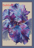 "Needlework Embroidery DIY Cross Stitch Kit ""Purple flower"" 14CT Unprinted"