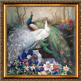 "Needlework Embroidery DIY Cross Stitch Kit ""Peacocks"" 14CT Unprinted"