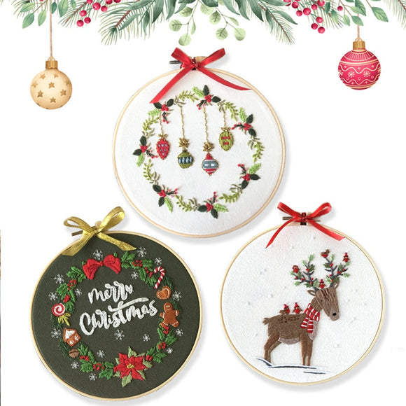 Embroidery Needlework Sets Beginner Christmas patterns With Hoop