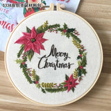 Embroidery Christmas Wreath Kit for Beginner With Hoop