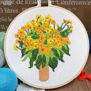 Oil Painting Style Sunflower Embroidery Kits With Hoop for Beginner