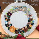 Embroidery Kits Xmas Wreath Style With Embroidery Hoop for Beginners