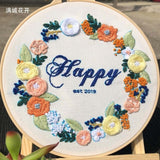 European style Embroidery Kits Bouquet With Embroidery Hoop