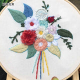 European-style Embroidery Flower Kits Package For Beginners -Hoop included
