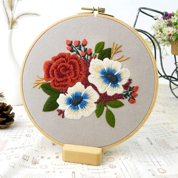 Embroidery Flower Kits Package For Beginners -Hoop option sold separately
