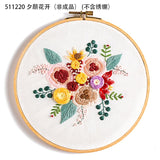 DIY Embroidery Kit Floral Bouquet Patterns -Embroidery Hoop option