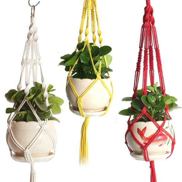 Colorful Handmade  Macramé Wall Hanging Pot Plant holder -Cotton- Basket
