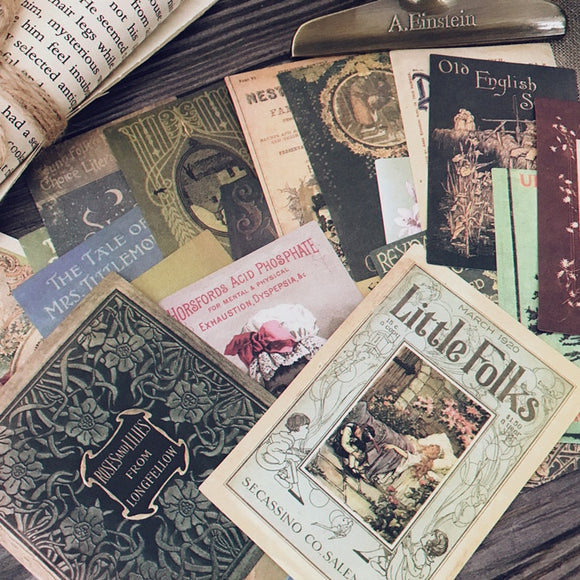 21pcs Junk Journal Vintage Retro Book Background Paper Stickers for Journal/ Scrapbooking