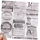 8pcs Vintage Newspaper Background Stickers for Scrapbooking Journaling Project