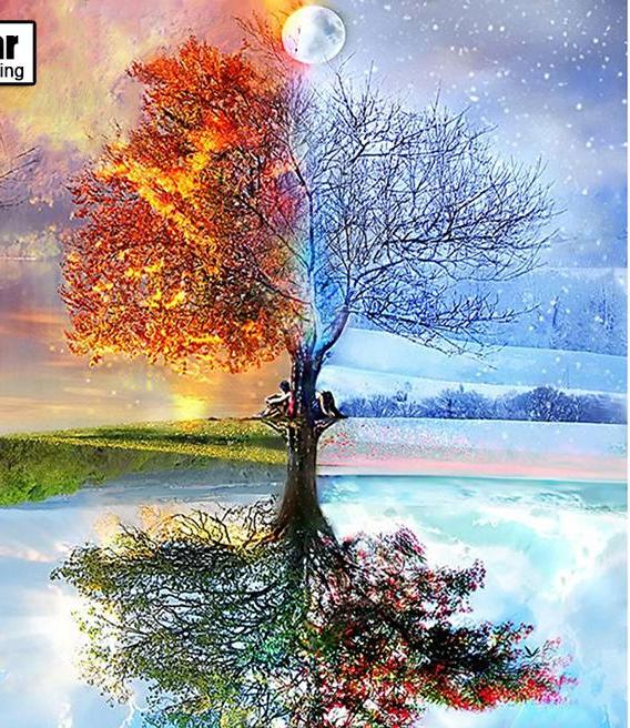DIY 5D Diamond Painting - Seasons Tree- 4 sizes - Scrap n Patch