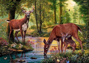 "5D Full Drill Square Diamond Embroidery Cross Stitch ""Deer in the forest drinking water"" - Scrap n Patch"