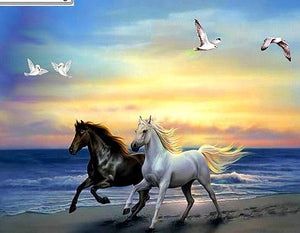 "5D Full Drill Square Diamond Embroidery Cross Stitch ""Run the horse on the beach"" - Scrap n Patch"