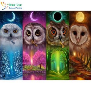 "5D DIY Diamond Embroidery Painting Kits -Full Square Drill ""Four seasons owl"""