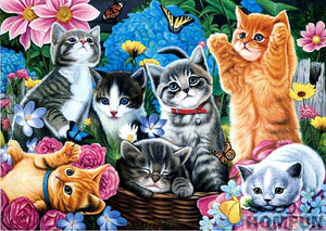 "5D 20x20 DIY Diamond Full Square/Round Drill  ""Cute cats"" - Scrap n Patch"