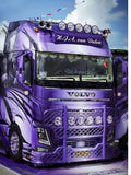 "5D Diamond Painting embroidery Full Square/Round ""Purple Volvo Cab truck"" 3D - Scrap n Patch"