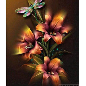 "5D DIY Diamond Painting Full Square/Round Drill mosiac ""Flowers & Dragonfly"" - Scrap n Patch"