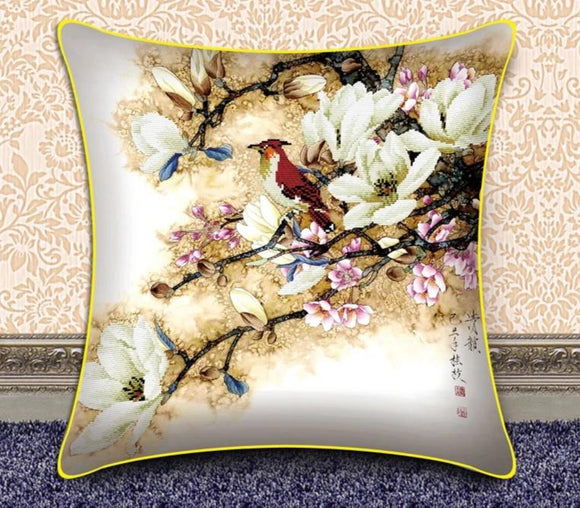 Printed Cross Stitch embroidery Bone shaped pillow