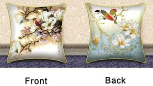 "Printed Cross Stitch embroidery Bone shaped pillow ""Flowers & Birds""-Scrap n Patch"