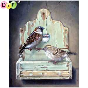 "5D Diamond embroidery Full square ""2 Sparrows"" - Scrap n Patch"
