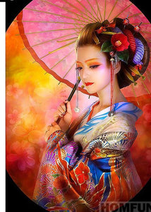 "5D DIY Diamond Embroidery Painting  Full Square/Round Drill ""Japanese woman"" - Scrap n Patch"