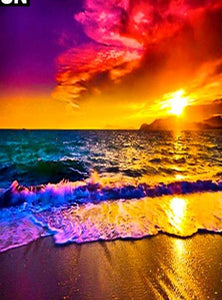 "5D DIY Diamond embroidery Painting Full Square/Round Drill ""Seaside sunset"" - Scrap n Patch"